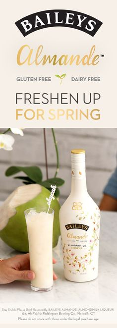 Grab your bottle of Baileys Almande- our new dairy free, gluten free, and vegan almondmilk liqueur. This light-tasting blend is perfect for hosting an outdoor BBQ or brunch. Simply mix 3 oz. of Almande with 3 oz. of coconut water - and enjoy!