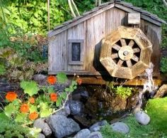 Delicieux Wooden Waterwheel Adds Contrast (My Own Garden) Ponds Backyard, Backyard  Landscaping, Small