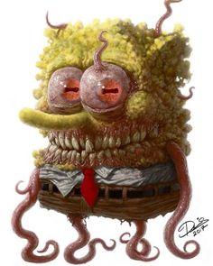 Sad to hear that Spongebob Squarepants creator Stephen Hillenburg passed away. He inspired many artists, even those that make creepy art… Disney Horror, Horror Cartoon, Zombie Cartoon, Arte Horror, Horror Art, Totoro, Spooky Scary, Creepy Art, Evil Cartoon Characters