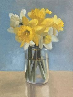 Original Oil Painting Spring Daffodils in a by PascaleStudio