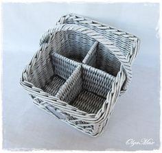 Купить Плетеная корзина-органайзер (для кухни или ванной комнаты) - серый, патина