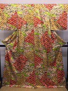 "Komon Kimono "" Festive garden in Spring and Autumn flowers "" stencil dyeing with…"