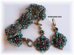PENDIENTES - MARITINA HERNANDEZ - Picasa Web Albums. Acqua blue and teal with bronze colour combo.