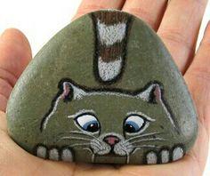 stone rock cat painting
