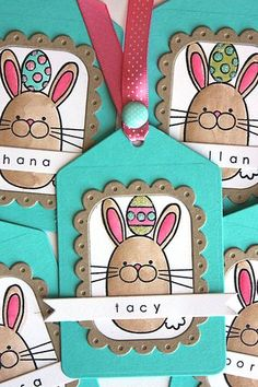 watercolor bunny Easter tags by Heather Nichols