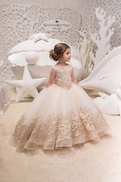 Ivory Cappuccino Lace Tulle Dress – Birthday Wedding party Bridesmaid Holiday Ivory Cappuccino Tulle Lace Belle Dress – The World Little Girl Dresses, Girls Dresses, Flower Girl Dresses, Lace Flower Girls, Princess Dresses, Communion Dresses, Birthday Dresses, Tulle Dress, Tulle Skirts