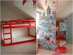 Aprenda como transformar um beliche infantil, em um castelo para as crianças dormirem e se divertirem.