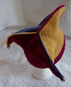 Get Ready for Mardi Gras!  Elf hat (Jester Joker Harley Quinn) crochet pattern by Darleen Hopkins