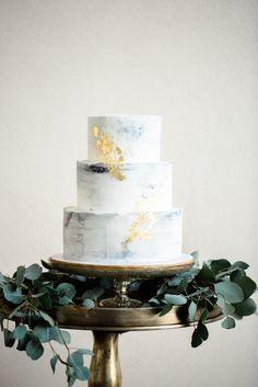 Marbled Buttercream and 24K Gold Leaf Wedding Cake