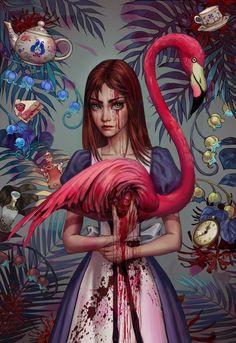 Alice In Wonderland Flamingo, Alice In Wonderland Fanart, Alice In Wonderland Aesthetic, Alice In Wonderland Drawings, Wonderland Tattoo, Adventures In Wonderland, Wonderland Party, Alice Madness Returns, Desenhos Tim Burton