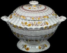 Spode Buttercup China Pattern Soup Tureen RARE Large Covered Dish with Lid #Spode