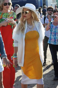 Rita Ora strutted around with these retro glasses and art deco inspired outfit. A little too swanky for the muddy fields of Glasto though. Glastonbury 2013 Celebrity Spots