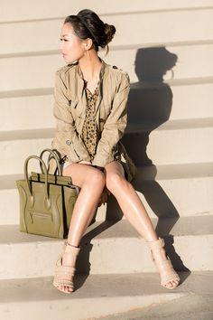 From Wendy's Lookbook blog:  Top :: Sanctuary jacket (old), Tucker blouse  Bottom :: Armani Exchange (old)  Bag :: Celine  Shoes :: Alexander Wang  Accessories :: Michael Kors watch, David Yurman bangle,  earrings (old), rings thanks to Gorjana!