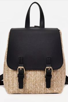 This casual straw backpack features a top handle, adjustable shoulder straps, and a foldover top with double buckle fastening.    #backpack #knapsack #rucksack #bag #black #straw #women #accessories #afflink