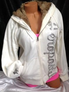 ❤️ENDS TODAY❤️ NWT #Aeropostale #Women XXL White #Fur #Hoodie Plus Brown Faux #Jacket Sliver Foil