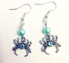 Aquamarine Spider Crystal Earrings on Etsy, $15.00
