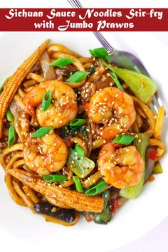 Sichuan Sauce Noodles Stir-fry with Jumbo Prawns – That Spicy Chick Sichuan Sauce Noodles Stir-fry (with Jumbo Prawns) - Quick & easy, and loaded with umami and spice! Customize it with your choice of protein and veggies! Chinese Prawn Recipes, Prawn Noodle Recipes, Asian Seafood Recipe, Shellfish Recipes, Seafood Recipes, Asian Recipes, Chinese Stir Fry, Asian Stir Fry, Chinese Food