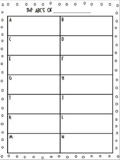 Here's an ABC form for students to write what they know. Give this to groups at the end of a unit and see how many meaningful statements they can write about the topic. Beginning Of The School Year, First Day Of School, Back To School, School Fun, School Days, School Stuff, Classroom Freebies, Classroom Ideas, Classroom Games