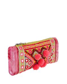 Edie Parker Embroidered Pom-Pom Clutch Bag, Multi $1695