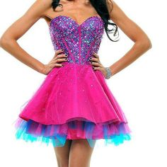 Fuchsia & Blue Strapless Sequin Tulle cocktail dress: In love with this! Sweet Sixteen Dresses, Sweet 16 Dresses, Unique Dresses, Pretty Dresses, Beautiful Dresses, Awesome Dresses, Dama Dresses, Quinceanera Dresses, Homecoming Dresses