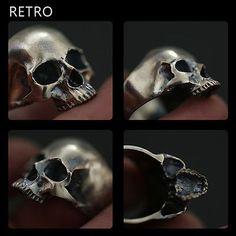 GEN Half Jaw Skull Ring 925 Sterling Silver Antique Retro Biker Rocker Jewelry