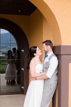Wedding couple with window reflection