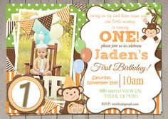 Boys Orange Green Monkey 1st Birthday by InvitaitonsByLittleP