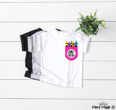 Your place to buy and sell all things handmade Teacher Shirts, Vinyl Lettering, Custom Shirts, Colorful Shirts, Monogram, Trending Outfits, Pocket, Cricut, Teaching