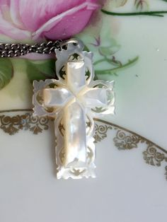 Vintage Mother of Pearl Cross Pendant with chain signed Bethlehem by Holliezhobbiez on Etsy