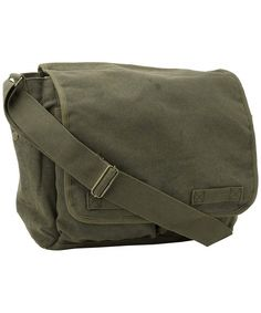 Luggage & Travel Gear, Messenger Bags, Classic Original Canvas Army Military Messenger Bag Olive by - Bags Military Messenger Bag, Canvas Messenger Bag, Teen Backpacks, Leather Backpacks, School Backpacks, Leather Bags, Backpack For Teens, Fashion Bags, Mens Fashion