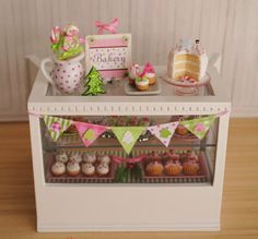 Miniature Christmas Bakery Case In Pink And by LittleThingsByAnna, $120.00