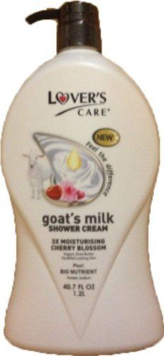 Lover's care goat's milk shower cream 40.7 oz (1200ml) -Cherry Blossom plus Bio Nutrient by Lover's Care. $19.99. 3X MOISTURIZING CHERRY BLOSSOM. LEAVE YOUR SKIN SOFT & SUPPLE ALWAYS.. PLUS! BIO NUTRIENT. YOUTHFUL LOOKING SKIN. YOGURT, SHEA BUTTER. Enjoy the magic that spring time brings with all its charm & glory and awaken your senses. with this sensational shower cream rich in its creamy, nourishing formula. Enriched with 3X Moisturizing power from Goat's Milk, Yo...