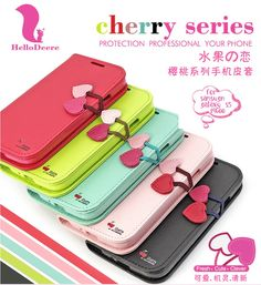 Sweet Horizontal Flip PU Leather Heart Button with Strap Case Cover for Samsung GALAXY S5 i9600