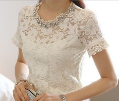Little Miss Lace. Lace tops are the perfect middle ground between sexy and classy. Lingerie Look, Embellished Shorts, White Lace Blouse, Lauren, Blouse Styles, White Fashion, Lace Tops, The Dress, Blouses For Women
