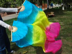 1 pair Chinese belly dance silk fan veil, turquoise-yellow-pink, 36 x approx 60 via Etsy