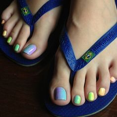 Rainbow pedicure and flip flops, mine is white.
