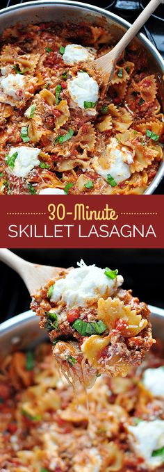 cheesy skillet lasagna that's ready in thirty minutes