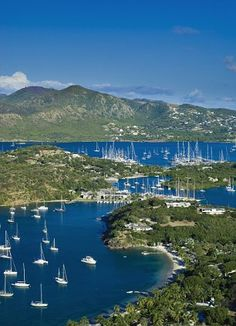 The spectacular sweep of English Harbour, the historic port area of Antigua