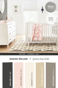 Bring timeless, nostalgic charm to your nursery with paint colors from the @potterybarnkids Spring/Summer 2021 paint palette. Shop online, then stop by your nearest Sherwin-Williams to pick up paints and supplies either curbside or in-store, then get your DIY painting project started. #sherwinwilliams #DIY #decor #kidsbedroom #whitebedroom #lovemypbk #pbkids #potterybarnkids #homedecor #painting #colorinspiration #renovation #paint #graypaint #pinkpaint #neutralpaint Nursery Paint Colors, Paint Colors For Home, Bedroom Colors, Wall Colors, House Colors, Colours, House Painting, Diy Painting, Kids Bedroom