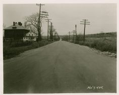 Pine Street looking north from Flynn Ave.  November 1945 in Burlington, Vermont.