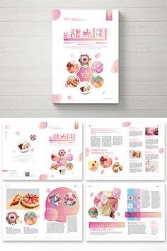 Fresh and stylish dessert food Brochure Brochure Food, Company Brochure, Brochure Layout, Brochure Design, Food Template, Layout Template, Brochure Template, Templates, Dessert Food