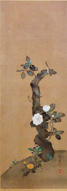 酒井抱一 Sakai Hōitsu. One of a set of birds and flowers of the twelve months paintings. 1818-1830. Japanese Rimpa School. Idemitsu collection.