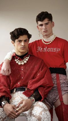 """The Royals"" PANSY Magazine Team: Photography: Karl Slater. Makeup: Rachel Freeman using Hair: Pricilla Pilling using American Crew. Model: Cyrus Amini & Charles Gorton from PRM. Fashion Week, Look Fashion, Fashion Art, High Fashion, Mens Fashion, Fashion Design, Fashion Jewelry, Queer Fashion, Androgynous Fashion"