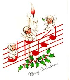 Vintage Christmas Card Angels Candle Musical Notes by PaperPrizes
