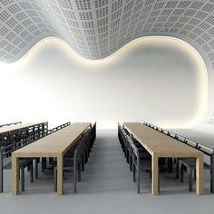 faux plafond design ondulé en plâtre blanc avec éclairage indirect