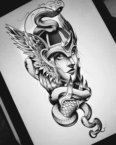 Sketch Style Tattoos, Tattoo Design Drawings, Tattoo Sketches, Tattoo Designs, Valkerie Tattoo, Ozzy Tattoo, Warrior Tattoos, Viking Tattoos, Athena Tattoo