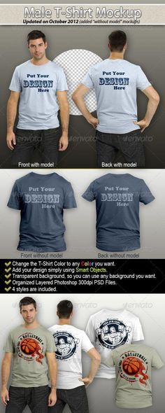 Male T-Shirt Mockup ¨C Front and Rear These mock-ups help you to show your t -shirts design in an amazing 8d8b6d71f3111