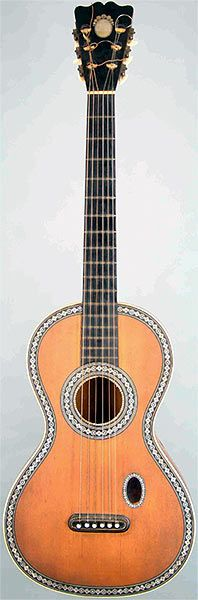 Early Musical Instruments, antique Romantic Guitar by PONS 1830