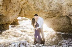 I headed down with Melia + Jeff to Malibu to capture their El Matador engagement. We lucked out and practically had the beach all to ourselves! Country Engagement Pictures, Beach Engagement Photos, Engagement Shoots, Engagement Photography, Fall Engagement, Engagement Ideas, Engagement Photo Dress, El Matador Beach, Beach Maternity Photos