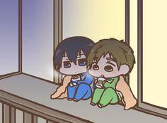 Winter ...  (cute!  Makoto has a kitty face on his mug!) ...   Drawn by nko_f ... Free! - Iwatobi Swim Club, haruka nanase, haru nanase, haru, nanase, haruka, makoto tachibana, makoto, tachibana, free!, iwatobi